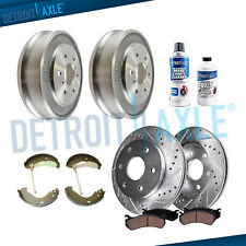 Front DRILLED Rotor Ceramic Pad Rear Drum Shoe for 2005-08 Silverado Sierra 1500