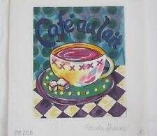 Cafe Au Lait Hand Painted Needlepoint Canvas by Ronda Ahrens Rhonda Coffee