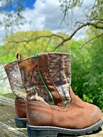 HEALTHTEX Real Tree JUST LIKE DAD Camouflage Boots Boys Girls Shoes Sz 3 👣b6