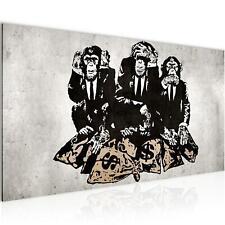Wandbild XXL - Streetart Banksy Affe - Bilder Vlies Leinwand Wohnzimmer