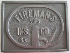 FIREMAN'S FUND: Fire Insurance Company Cast Metal Paperweight MARK/ SIGN/ PLAQUE