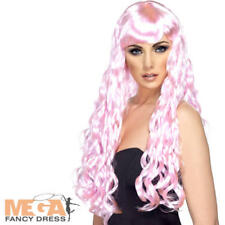 Candy Pink Long Curly Wig Ladies Fancy Dress Adults Mermaid Costume Accessory
