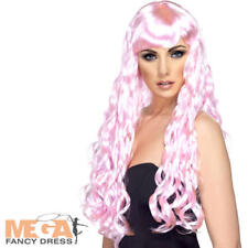 Candy Pink Desire Long Curly Wig Ladies Fancy Dress Club Halloween Costume Acc