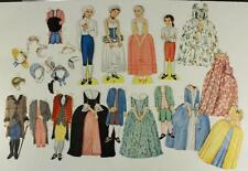 Vintage Paper Doll Lot Queen Holder COLONIAL George Sally James Martha & Outfits