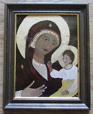 MADONNA MIT KIND Original Ölbild auf Glas im Holzrahmen Bild Gemälde Religion