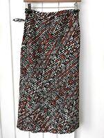 Marks & Spencer Maxi Skirt Size 14 Linen Mix Lovely Black Orange Patterned Tie