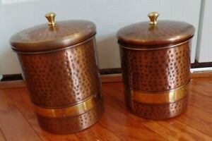 Set Of Two Hammered Copper Style Metal Kitchen Canisters VGC