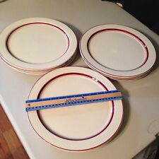 "4 Pc Set JACKSON Custom China USA Weave Red dinner plates 12"" Dim Vtg Dinnerware"