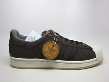 NIB ADIDAS Mens 9 SUPERSTAR S82214 DARK BROWN LEATHER LIFESTYLE SHOES $100