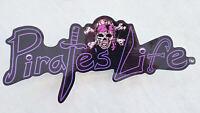 """Large PIRATE'S LIFE Purple Skull and Bones Bumper Sticker 9"""" x 4"""" Di-cut Decal"""