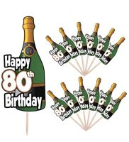 80th Birthday Champagne Party Food Cup Cake Picks Sticks Decorations Toppers