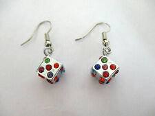 CRYSTAL DICE DANGLE EARRINGS