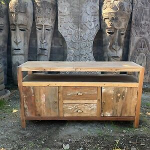 Recycled Teak Large TV Stand Table - 1.4m - Handmade Bali Wooden Sideboard