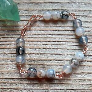Polished Agate & Copper Bracelet