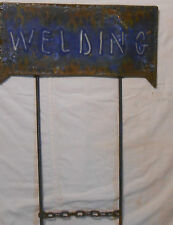 WELDING SIGN WHITE ON BLUE USED 10 x 20 SCULLS AND FLAMES YARD MOUNT STEAM PUNK