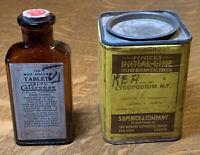Vintage Medicine: Lycopodium Penick's Tin & Calcrease Amber Bottle