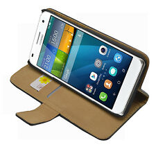 Wallet BLACK Leather Flip Case Cover Pouch Saver for Huawei Ascend G7 (+2 FILMS)