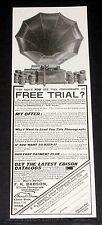 1909 OLD MAGAZINE PRINT AD, WONDERFUL EDISON PHONOGRAPH, GET IT ON FREE TRIAL!