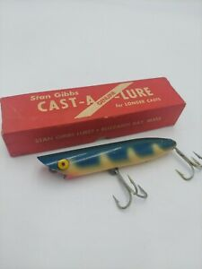 OLD VINTAGE WOODEN STAN GIBBS SATWATER STRIPER FISHING LURE Bait in box tackle