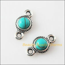 5 New Retro Charms Tibetan Silver Turquoise Round Pendants Connectors 8.5x16mm