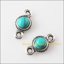 5 New Retro Charms Tibetan Silver Turquoise Round Pendants Connectors 8.5x16mm