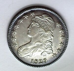 1829 CAPPED BUST SILVER 50 CENTS CHOICE UNC NICE TONING!! RARE THIS NICE!!