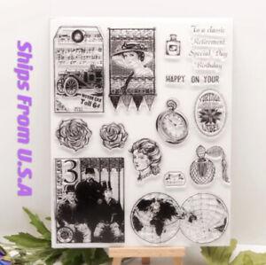 Old Vintage Historical Portrait Metal Cutting Die Stencil & Clear Stamp DIY Card