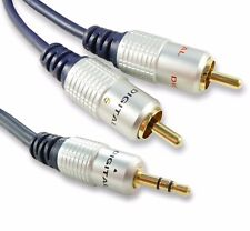 3m 3.5mm Jack to Twin RCA Lead Cable Screened Audio Jack to Phono Gold Plated