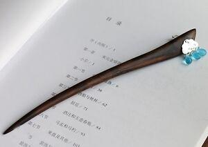 Oriental classic style handmade macassar ebony wood hairpin with silver flower