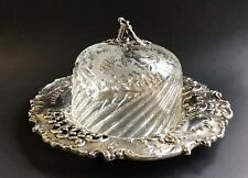 Austrian 800 Silver Cut And Etched Crystal Domed Ornate Silver Server