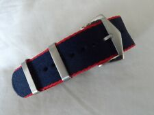 James Bond Nato Style Watch Strap Pepsi Colours with Brushed Steel Buckle 22 mm