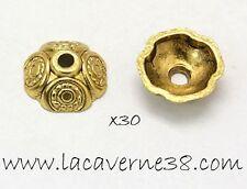Lot 30 coupelles intercalaires 9 x 4 mm caps or antique perle création bijoux