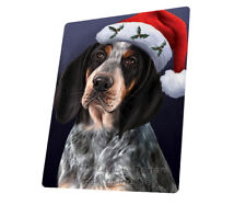 Christmas Bluetick Coonhound Dog Santa Hat Woven Throw Sherpa Blanket T429