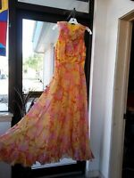 VTG 70s Handmade Long Maxi Dress Empire Yellow Pink Floral Slvles Ruffle Hippy S