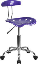 Vibrant Violet Swivel Office Task Chair w/Tractor Seat and Chrome Metal Base