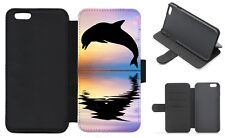 DOLPHIN Cute Wallet Flip Phone Case iPhone Galaxy 4 5 6 7 8 9 10 Plus X(A)