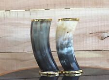 Specially designed pair of Norse Viking Drinking Horns for ale beer wine mead