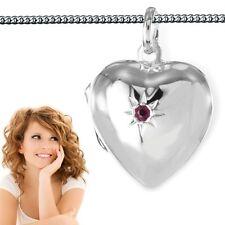 Rubin Herz Medaillon Anhänger zum öffnen Amulett für Bilder Fotos Silber 925
