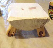 Rustic Log Slab Pine Children's Bench - kids wooden stools - lettering extra