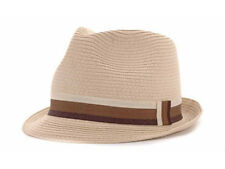PL Straw Fedora Natural Bucket Dress Fashion Hat Cap Lid Natural Brown Ribbon LX