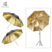 """2pcs Photo 33"""" Umbrella Black/Gold 84cm Reflector Diffuser for Studio Flash"""