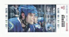 2013 VANCOUVER CANUCKS V COLUMBUS BLUE JACKETS TICKET STUB 11/22/13 KEVIN BIEKSA