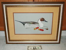 Sherm Pehrson Decoy Duck w/ red gun shells Watercolor Blend + Framed Hunting