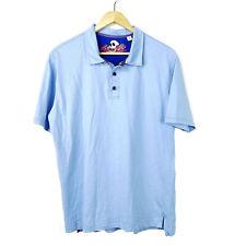 Robert Graham Polo Shirt M Classic Fit Solid Blue Cotton Short Sleeve