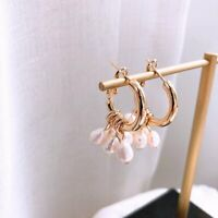 Classic Geometric Pearl Hoop Earrings Drop Dangle Ear Stud Women Jewelry Gift