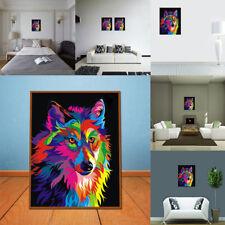 Peinture à l'Huile Tableau Abstraite Moderne Art Loup Coloré Mur Décor Salon NF