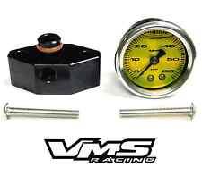 "VMS 05-10 MUSTANG 1 1/2"" 60PSI YELLOW FUEL PRESSURE GAUGE LIQUID FILLED ADAPTER"