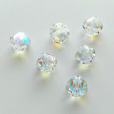 6 Special Production Swarovski 5309/1 8mm Crystal Blue AB Rounded Bicone Beads