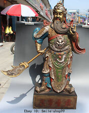 """26"""" Marked Chinese Dragon Robe Painting Guan Gong Yu Warrior God stand Statue"""
