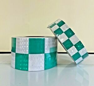 Green White Chequered Reflective Conspicuity Adhesive Tape 50 100mm/1-40 metres
